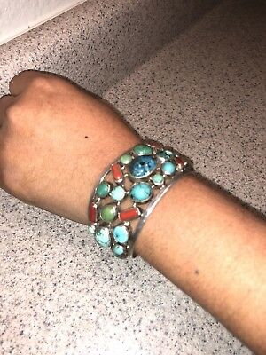 Antique  Bracelet Silver and Turquoise And Coral