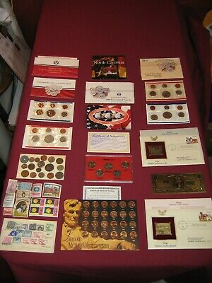 Huge Coin Lot Mint Sets Old Stamps LINCOLN Penny Set World Coin Lot Kennedy 22k