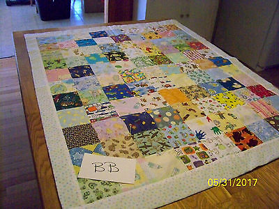 Lot BB Homemade Quilt Large ABC's 33in x 41in Cotton