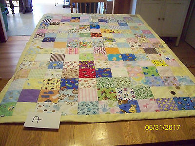 Lot A Homemade Quilt Mulit Colored Baby Feet Backing 39in x 56 in Cotton