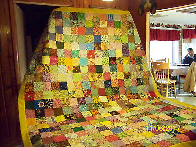 Homemade Quilt Paisley black Backing & Yellow Binding 65in x 80in new