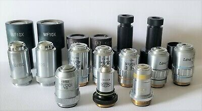 Lot of 17 Eyepieces & Microscope Objectives Fisher, Bausch & Lomb, Olympus
