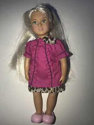 """OUR GENERATION Mini Small DOLL 6"""" HOLLY Blonde Hair DOLL Pink Leopard Outfit"""