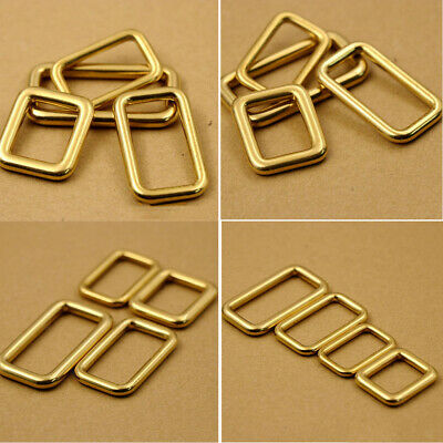 Brass Rectangle Belt Buckle Loop Rings Bags Webbing Strapping Craft Supplies