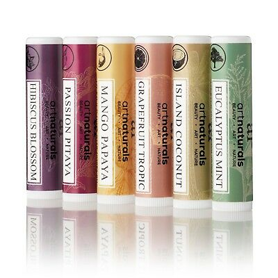 Tropical Lip Balm Set (6pk) - Natural Beeswax Infused Vitamin E Assorted Flavors