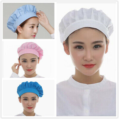1PCS Men And Women Pink Light Blue White Blue Elastic Dustproof Kitchen Chef Cap