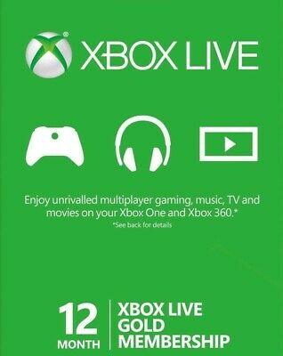 Xbox Live Gold Membership - 12 Month Subscription - Quick Delivery