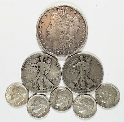 Lot:(8) US 90% Silver Coins-$2.50 Face Value, pre-1965 & Morgan Silver  $1