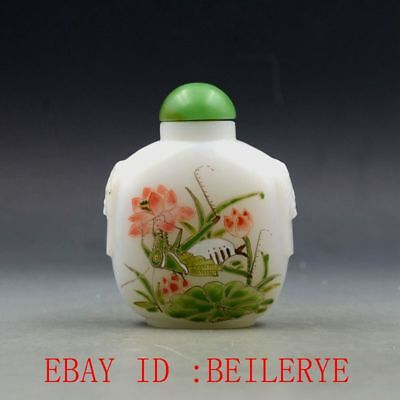 Antique Chinese Glass Handmade Lotus & Cricket Snuff Bottles BY89