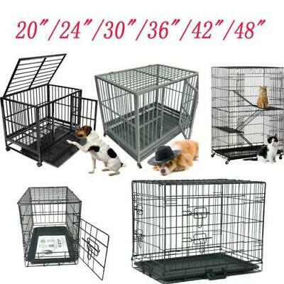 "20""/24""/30""/36""/42""/48""Pet Cat Dog Steel Crate Animal Playpen Metal Cage 4 Style"