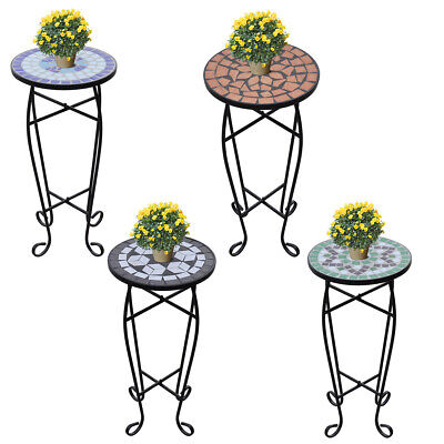 vidaXL Side Table Mosaic Ceramic Garden Plant Stand Holder Coffee End 4 Colors