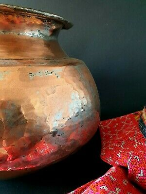 Old Turkish Hand Made Copper Pot / Planter  …beautiful display & collection piec