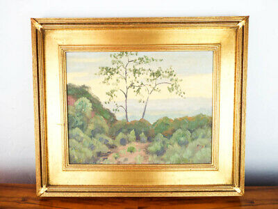 Vintage Oil On Board Plein Air Painting Landscape Art California Coastal Scene