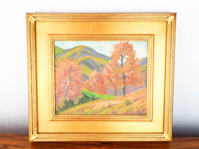 Vintage Framed Oil On Board Plein Air Painting Landscape Art Unsigned E B Smith