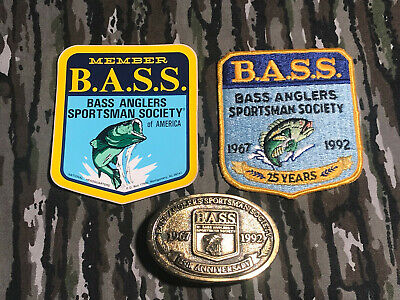 Vintage Bass Anglers 25th Anniversary Belt Buckle & Patch 1967 - 1992