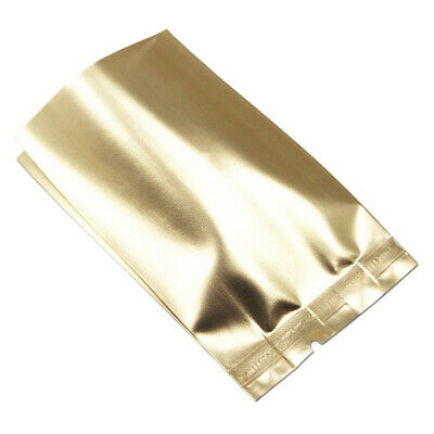 Vacuum Open Top Gold Aluminum Foil Mylar Bag Heat Sealed Food Storage Pack Pouch