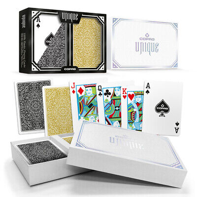 COPAG UNIQUE 100% Plastic Playing Cards Poker Size Regular Index Black Gold