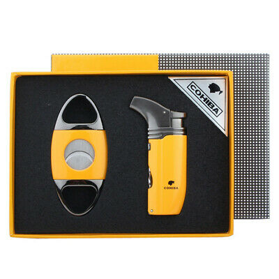 Cohiba Metal Yellow 2 Torch Jet Flame Cigarette Cigar Lighter W/Punch Cutter Set
