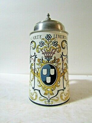 "Mettlach Lidded German Stein #1044  "" In Arte Libertas """