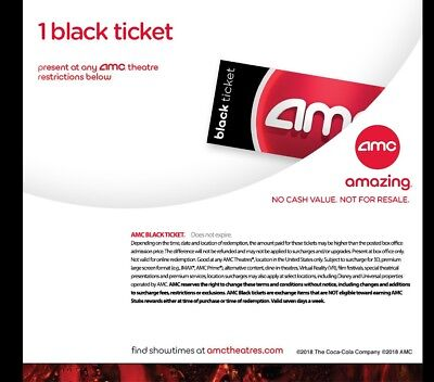 INSTANT DELIVERY. AMC Black Movie Ticket. Amc Theater (Any State) - No exp