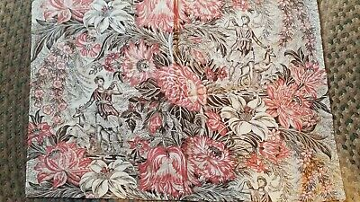 Antique toile panel French linen Figure and floral