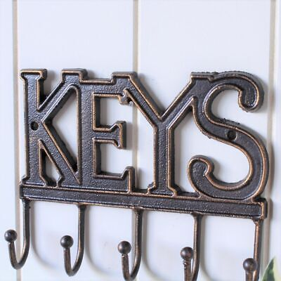 Cast Iron Key Rack Holder With 5 Hooks Coat Hat Wall Hanging
