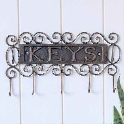 Cast Iron Scroll Key Holder With 7 Hooks Coat Hat Wall Hanging