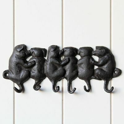 Cast Iron Piggy Key Holder With 6 Hooks Coat Hat Wall Hanging