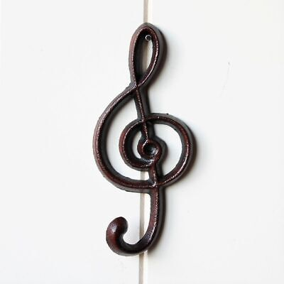 Cast Iron Treble Clef Key Holder With 1 Hook Coat Hat Wall Hanging