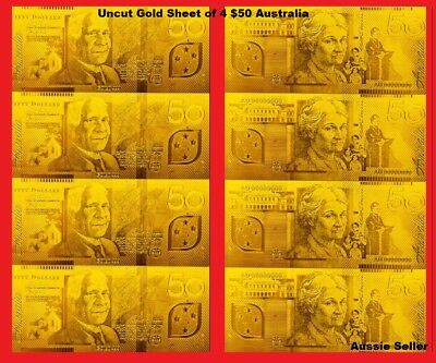 Australia Bank Note $50 Gold Uncut Sheet Of 4 Banknotes 24K Gold Limited Note