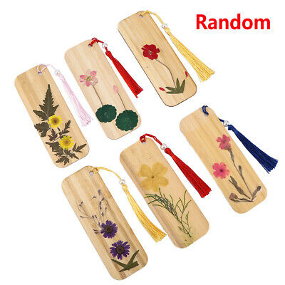 Exquisite Dried Flowers Bamboo Material Bookmarks Chinese Style DIY Bookmark