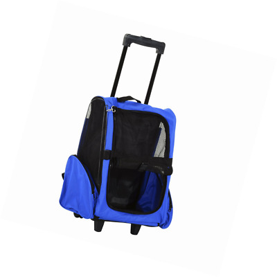 a160bdd37625 Pawhut Pet Travel Backpack Bag Cat Puppy Dog Carrier w Trolley and  Telescopic Ha
