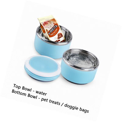 Spill Proof Dog Cat Travel Bowl Portable 304 Stainless Steel Multiple Layers Pet
