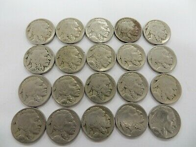 Buffalo Nickel lot Amazing coin lot 20 coins all different dates or mints!!