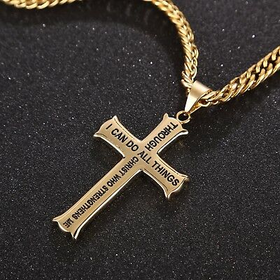 Men's Stainless Steel Gold Color Christian Jewelry Gift Cross Pendant Necklace