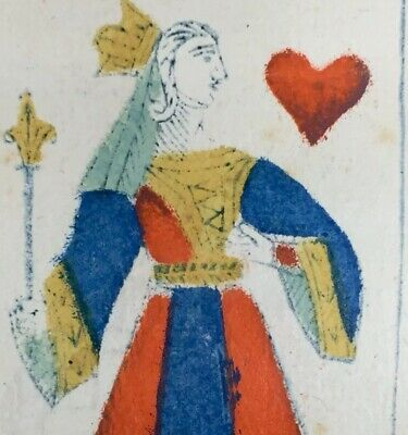 Queen of Hearts Italy Painted Woodcut Museum Grade Antique Playing Cards Single