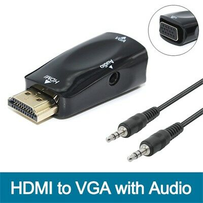 1080P HDMI to VGA converter adapter + 3.5 mm audio Video jack full HD PC Laptop.