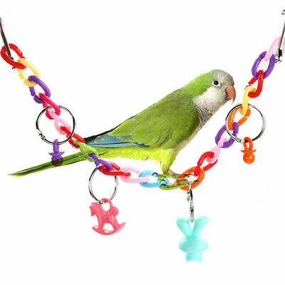 Colorful Bird Toy Parrot Swing Cage Toys For Parakeet Budgie Lovebird Cockatiel