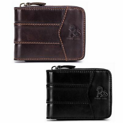 Genuine Leather Mens Wallet Billfolds ZIPPER Coin Purse Vintage Retro Style CHIC