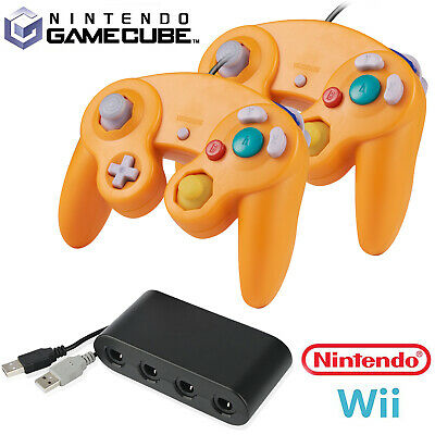 Wired GameCube NGC Controller and Adapter Gamepad for Nintendo GameCube & Wii U