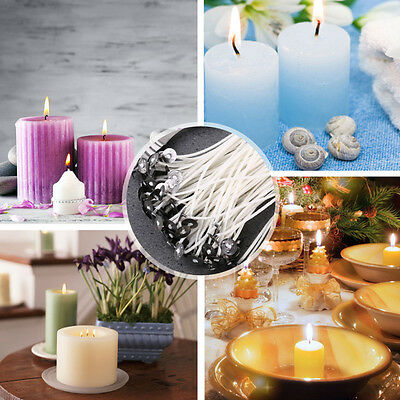 50Pcs Candle Wicks Pre Waxed With Sustainers Cotton Coreless 15cm SALE