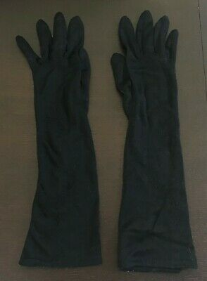 Vintage Black Mid Arm Length Stretch Gloves w Floral Embroidery Size 6.5/S