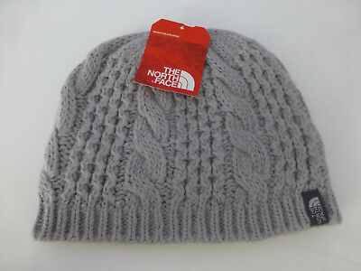 6ef0eb7dffde0 The North Face Minna Metallic Silver Cable Knit Beanie Hat One Size Unisex  New