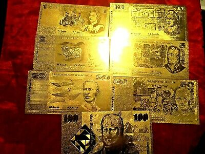 Australia Banknote 7 24K Gold Bank Notes  Limited Old Paper Set Gift Anniversary