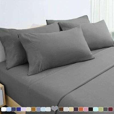 4 Piece Bedroom Bed Sheet Set Flat Fitted 1000 Thread Count Comfort Deep Pocket