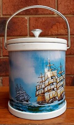 Vintage Retro Nautical Metal Ice Bucket Ships Sailing Motif Barware Bar Ware