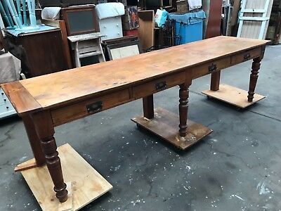 Antique,industrial, restored kauri pine railway station table/ desk