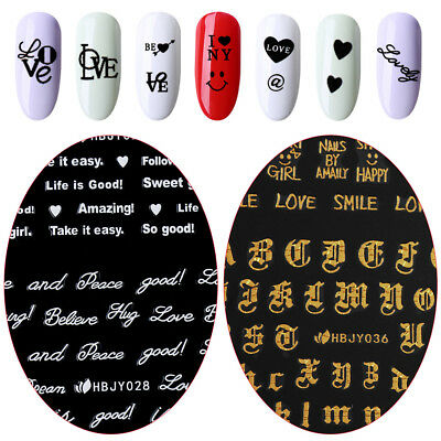English Letter Nail Art Sticker 3D Transfer Decal Manicure Decor Adhesive Tips!