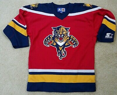 f24c0bd8dcf Mens STARTER Florida PANTHERS Authentic CENTER ICE FIGHT STRAP NHL Jersey S