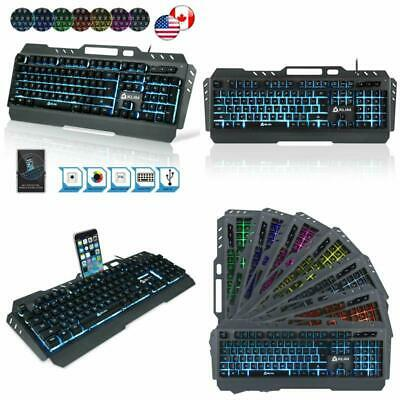 aa38adbb9ad KLIM Lightning Gaming Keyboard - Semi Mechanical - Led 7 Colors Light Up,  Metal